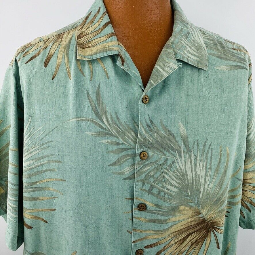 Primary image for Caribbean Hawaiian Aloha Shirt XL Green Beige Palm Leaves Tropical Coco Buttons