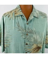 Caribbean Hawaiian Aloha Shirt XL Green Beige Palm Leaves Tropical Coco ... - $49.49