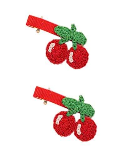 2 Pairs Of Fashion Red Cherry Wool Handmade Hair Accessories Hairpin