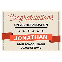 Red Scroll Class of 2018 Graduation Banner Personalized Backdrop - £32.75 GBP