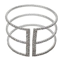Inspired Silver Silver CZ Three Row Cuff Sparkling Bracelet With Sleek R... - $593,31 MXN