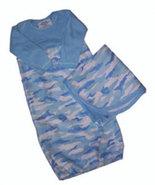 Preemie & Newborn Blue Camoflauge Flannel Gown & Matching Blanket - $36.00