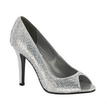 Silver Rhinestone Women's High Heel Bridal Holiday Prom Dance Peep Toe Shoe - $1.296,35 MXN
