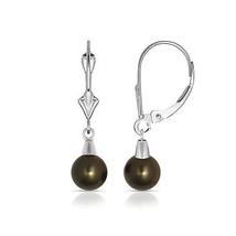 Black Pearl Ball Shape Dangle Leverback Earrings 14K Solid White Gold - $84.99
