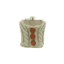Wild Eye Stainless Steel Drinking Flask Cozy Gray Knit Sweater Brown But... - $25.04