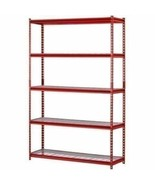 Red 5 Shelf Metal Storage Rack Steel Shelving Adjustable Heavy Duty 48 x... - $101.87