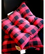 $50 Food Network Red &Black Buffalo Check Tufted Woven Chair Pad Ties 2 ... - $34.62