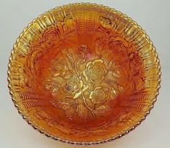 Imperial Carnival Glass Lustre Rose Marigold Iridescent 3 Footed 10 Inch... - $37.39