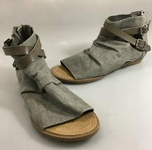 Blowfish Malibu Womens 8 Gray Canvas Gladiator Open Toe Sandals Leather ... - $37.73