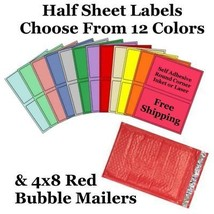 4x8 ( Red ) Poly Bubble Mailers + Half Sheet Self Adhesive Shipping Labels - $1.99+