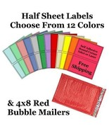 4x8 ( Red ) Poly Bubble Mailers + Half Sheet Self Adhesive Shipping Labels - $2.99+