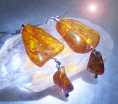 Haunted Earrings Free W $49 Weight Loss Magick 925 Amber Earrings Witch Cassia4 - $0.00