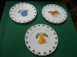 Beautiful  Set of 3 MILK WHITE Collector Wall Plates-Fruit Design with H... - $11.55