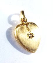 LUV14K GOLD VTG 'VELVET FINISH' HEART PENDANT~Starburst•PEARL~w/Bale~(2g) - $199.00