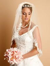 White, Ivory, Beige Mantilla Embroidered Lace Beaded Wedding Bridal Veil - $96.85