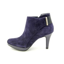New Bandolino Christina Dark Purple REAL Suede Ankle Booties 6 Shoes Heels - $36.75