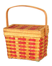 New Vintiquewise Chipwood Picnic Rectangle Basket with Burgundy Stripes,... - $12.99