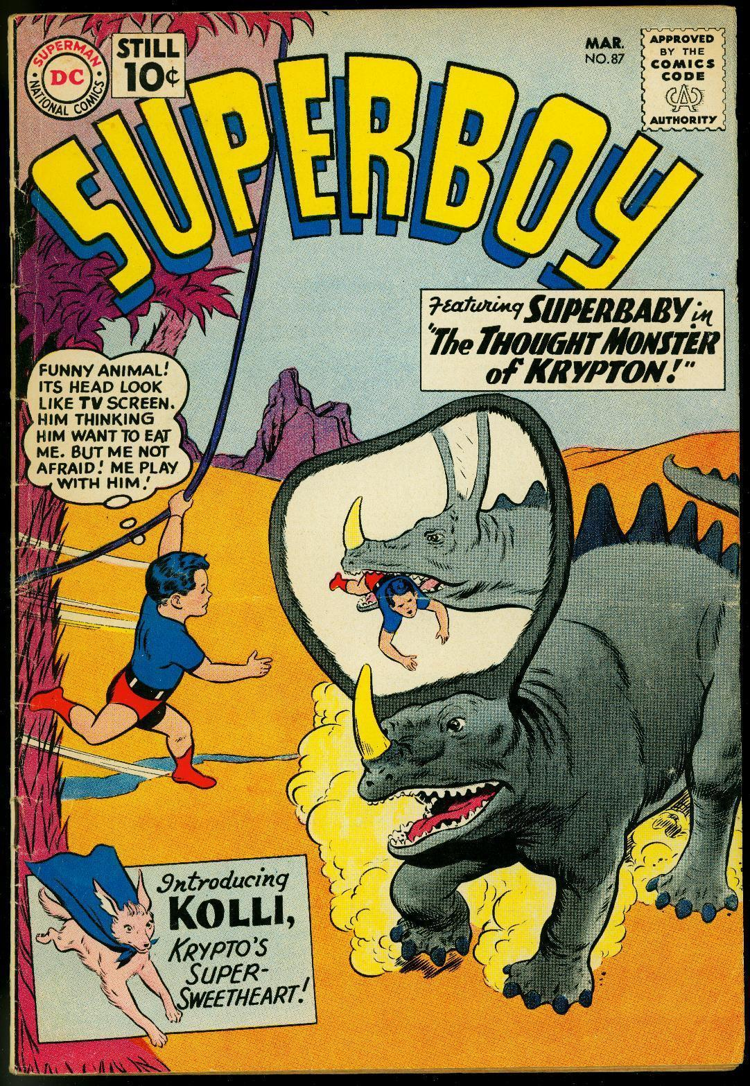 SUPERBOY #87 1960-DC COMICS-THOUGHT MONSTER-DINOSAUR VG