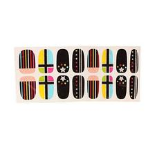 [Set of 2]Easily Apply 12 PCS Artificial Salon Nail Polish Sticker, Colour Cross