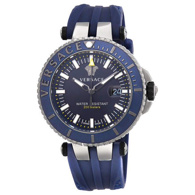 Versace VAK020016 V-Race Diver Blue Silicone Men's Watch