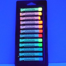 OIL PASTEL 12 UV BLACK LIGHT NEON ART GRAFFITI SCHOOL FREE KEY RING - $9.89