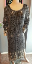 Vtg Floral Stripe Black Silver 80's does 20's Beaded Silk Trophy Dress S - $189.99