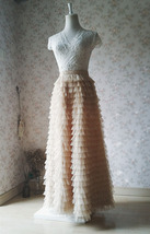 Champagne Long Layered Tulle Skirt Outfit Adults Tiered Tulle Skirt Custom image 3