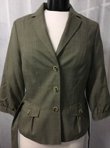 Banana Republic Women's Blazer Brown Plaid Wool Lined Belted Size 10 - $42.76