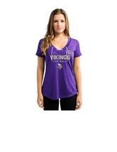 NFL Minnesota Vikings Bridgewater #5 Women's V-Neck Synthetic Lace Up Top MEDIUM - $9.49