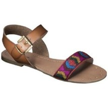 9aff5060d50 Womens Mossimo Lakitia Sandal Flat Ankle Strap Brown Tribal Woven 5 6 -   12.99