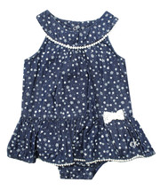 CALVIN KLEIN JEANS INFANT GIRLS 2 PC FLORAL DENIM ROMPER DRESS & HEADBAN... - $24.74