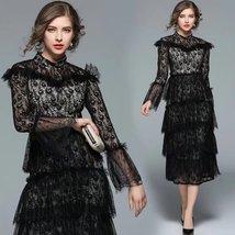 Spring new women's fashion temperament lace trumpet sleeves flounced Slim dress - $89.00