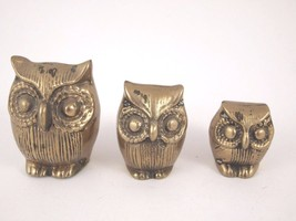 3 Brass Great Horned Owls Figurines Family Midc... - $28.04