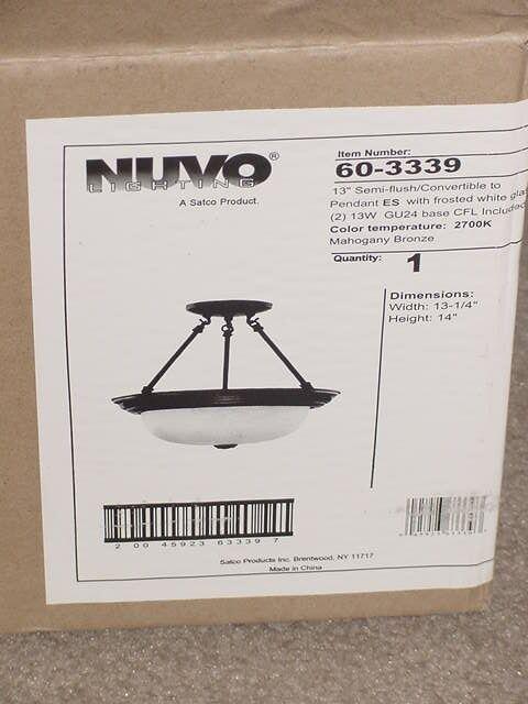 Nuvo Semi-Flush Pendant 2 Light Fixture Mahogany Bronze Frosted White 60-3339 13 - $55.00
