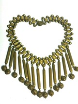 VINTAGE BRASS FESTOON LARGE NECKLACE 1930s METAL CHARM BEADS  TONGUE CLASP - $215.00