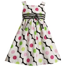 Bonnie Jean Little Girl 2T-6X Black/white Bias Dot Print Triple Ribbon Dress