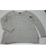 W14039 Womens AMERICAN EAGLE White/pink/purple SWEATER Hipster LARGE - $30.86