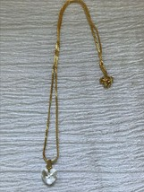 Estate Dainty Goldtone S Chain w Small Clear Faceted Heart Pendant Neckl... - $8.59