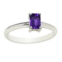 Rectangle Shape Amethyst Gemstone 925 Sterling Silver Women Engagement B... - $20.78