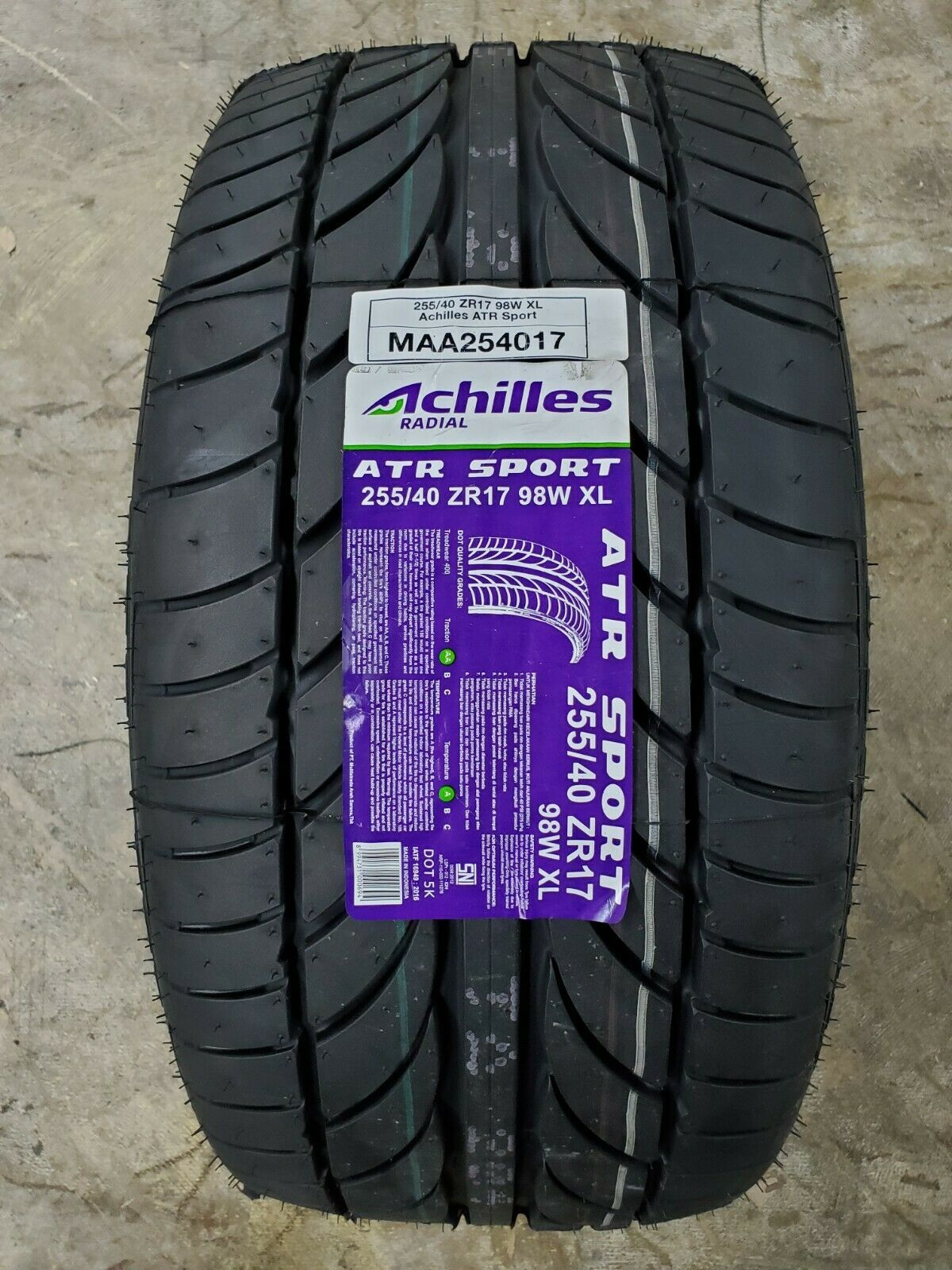 Primary image for 255/40ZR17 Achilles ATR SPORT 98W XL