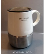 Starbucks 2004 Urban Coffee Travel Mug Cup Stainless Steel & Off White C... - $17.75