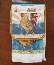 Rooster Kitchen Set, 4-piece, Towels Pot Holders, french country decor, Chicken image 1
