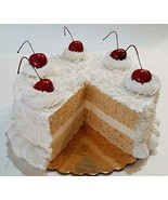 "Dezicakes Large Coconut Cream Fake Cake- Sliced Cake Display 9"" Faux for... - $49.64"