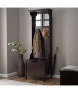 Espresso Finish Wooden Hall Tree Mirror Coat Rack Hat Hooks Storage Stan... - $292.94