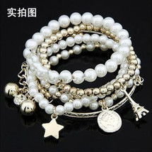 SILVER-TONED MULTI LAYER PEARL BEADED CHARM BRACELET  - $6.68