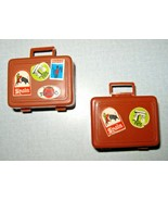 2 Barbie Busy Hands #3311 Brown Suitcases w/ Stickers Vintage 1971 Good ... - $12.86