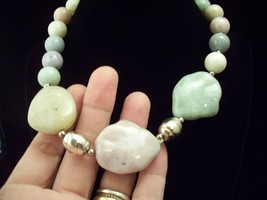 PASTEL STONES Look CHUNKY Choker Necklace Vintage Big Silver Tone Vintag... - $13.85