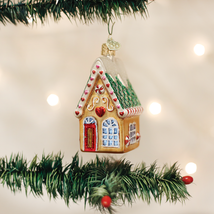 OLD WORLD CHRISTMAS COOKIE COTTAGE GINGERBREAD HOUSE GLASS XMAS ORNAMENT... - $14.88