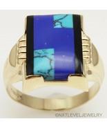 Antique Art Deco Ostby & Barton Lapis Turquoise & Onyx 10k Solid Gold Me... - $767.25