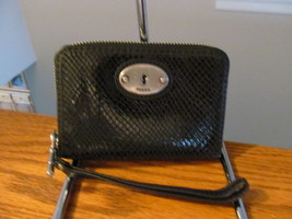 Authentic Fossil Black Leather Snake Embossed Wristlet Wallet New In Box - $39.59